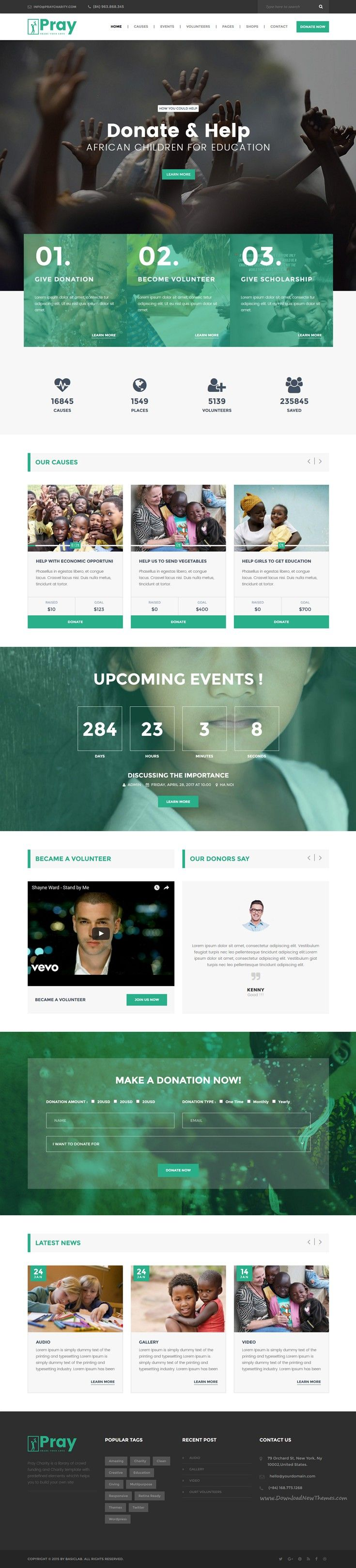 Pray is a clean responsive #WordPress theme for #charity, #NGO, non-profit…