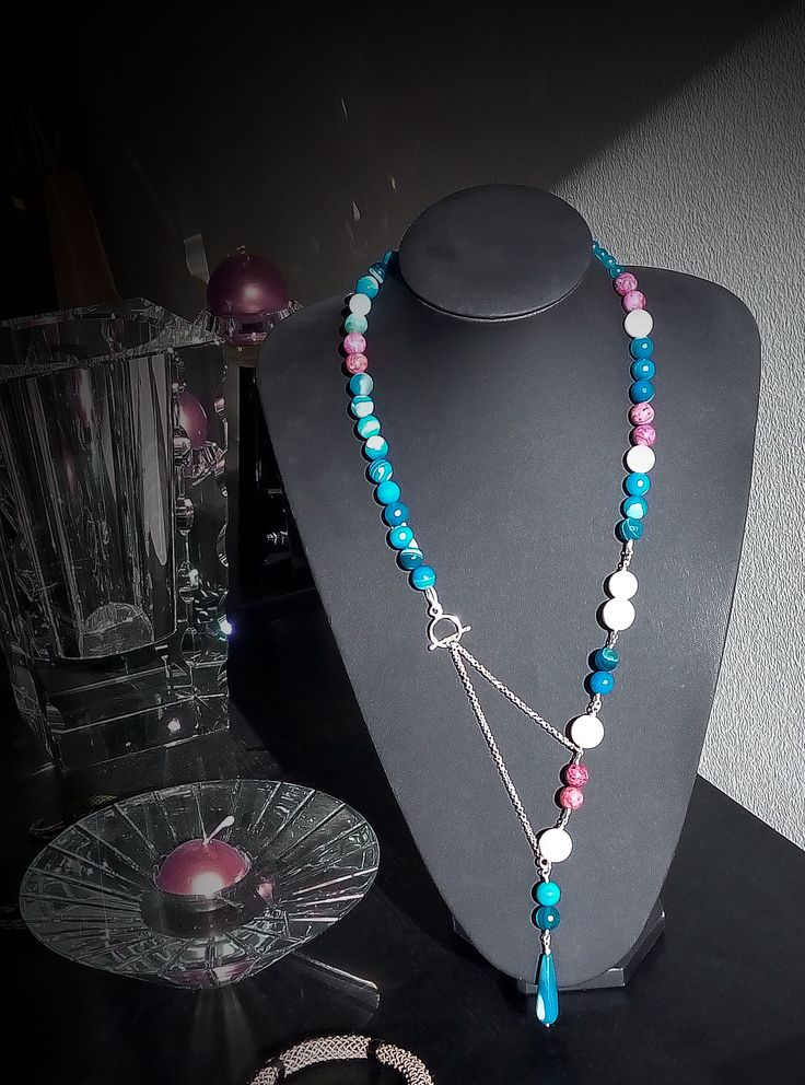 Women modern necklace by MYTHICA! Sterling silver chain and semiprecious beads(agate)! Fb:mythica handmade creations Official site:www.mythica.gr