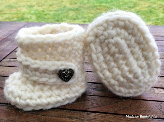 Easy Homesteading: DIY Virkade Baby UGGs Pattern