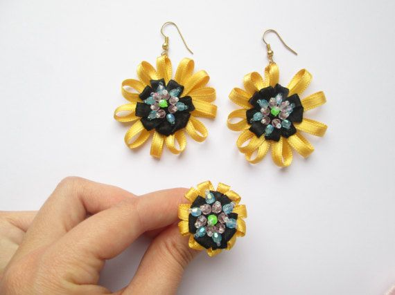 Set Statement Ring & Earrings Sun Flower Dangle by MadiReShop #handmade #jewelry #flower #set #ring #yellow #earrings #beaded