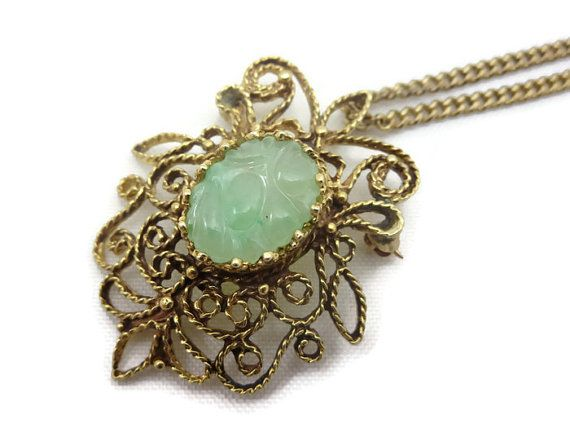 Jadeite Pendant  14k Gold Filigree Brooch Carved by VintageInBloom #ecochic #vintage #jewelry