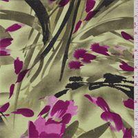 Olive/Fuschia Satin Back Shantung