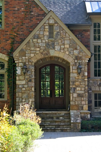 23 best two tone brick stone house exteriors images on for Brick and stone house facades