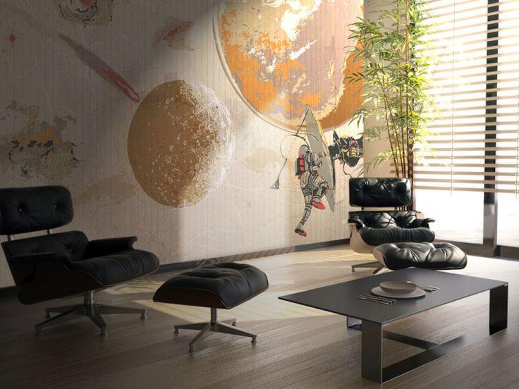 """Uomo nello Spazio > Collezione Fancy """"Un piccolo passo per l'uomo, un grande passo per l'umanità"""". Una decorazione che fa rivivere l'emozione del primo sbarco sulla luna #wallpaper #mycollection #room #colour #design #home #office #living #fancy #uomo #spazio #luna"""