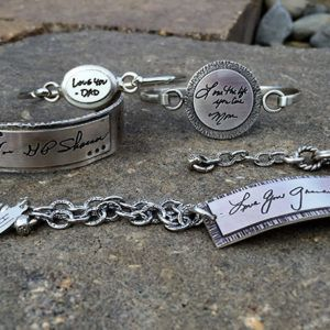 Have a loved one's handwriting engraved on jewelry. Love this.