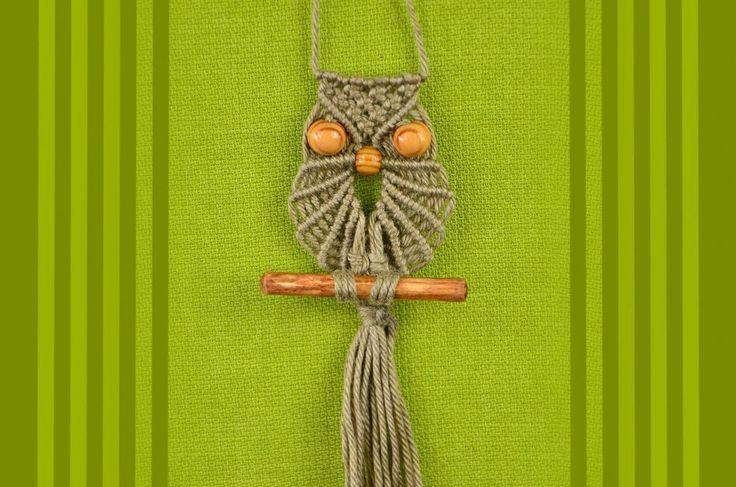 Macrame Owl - Decoration for keys / key ring or necklace / How to / DIY. Makramee Eule - Dekoration für Schlüssel / Schlüsselring oder Halskette. Макраме Сов...
