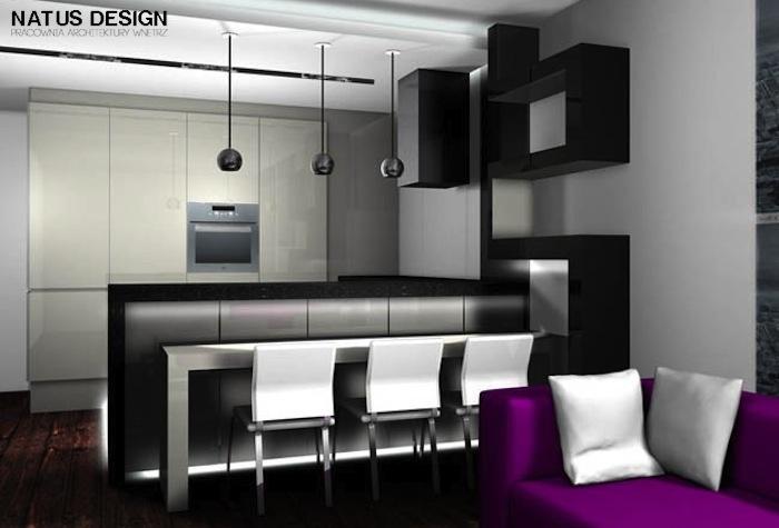 Aranżacja kuchni wystrój nowoczesny w kolorach biały, czarny - projekt wnętrza #833688, Homplex