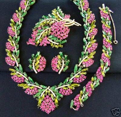 "Trifari Rhinestone Parure /This set consisting of a number of matching pieces would be referred to as a ""parure"" by collectors."