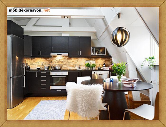 açık mutfak siyah dolap