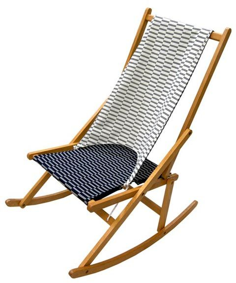 Folding Rocking Chair With Eleanor Pritchard Fabric.