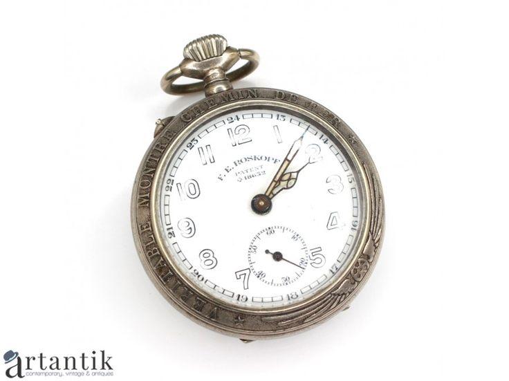 Ceas de buzunar feroviar - otel cromat - F.E. Roskopf - patent elvetian