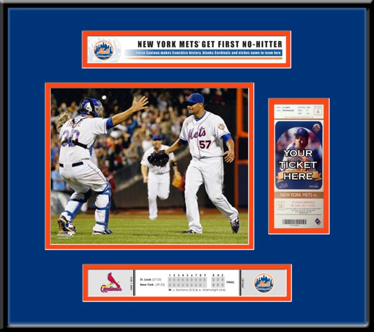 New York Mets Johan Santana No-Hitter Ticket Frame - Season Ticket