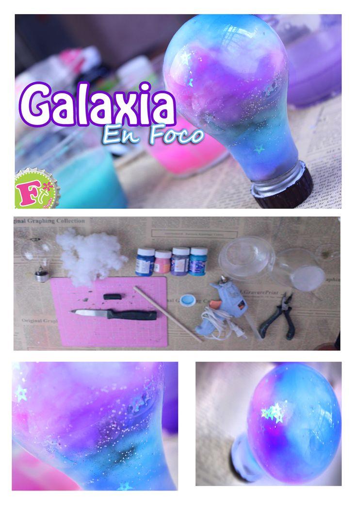 Como hacer una galaxia en un foco// Upcycled galaxy jar