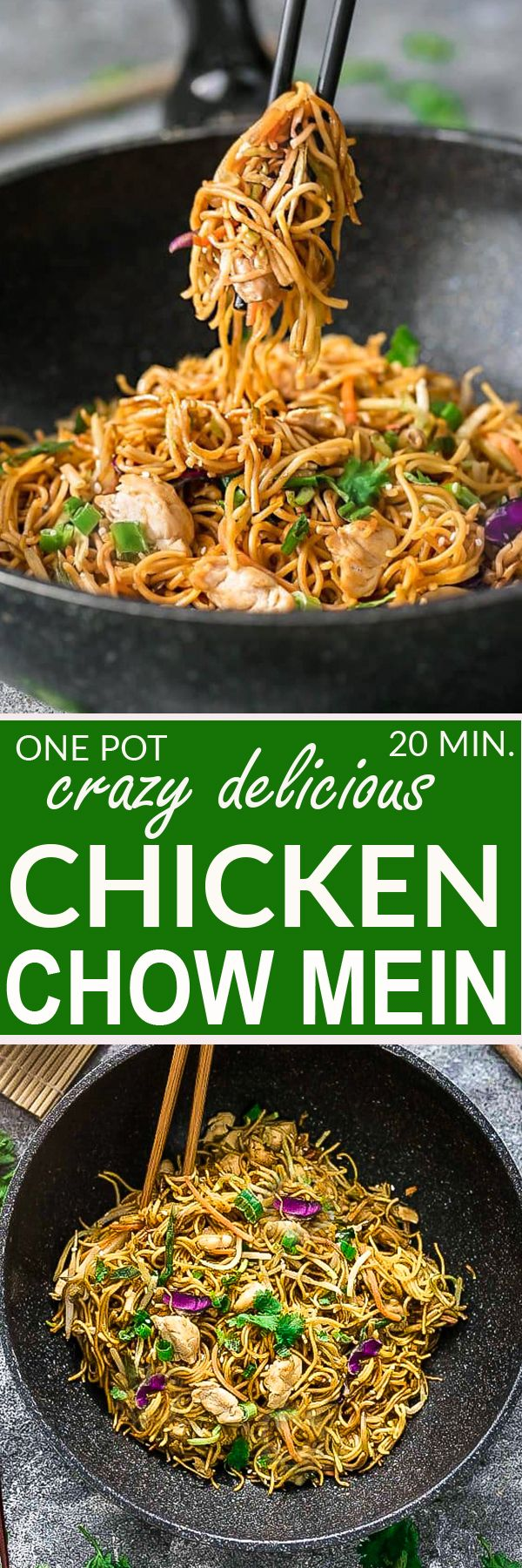 This is the BEST recipe for authentic Chicken Chow Mein from a top Chinese Restaurant chef. It is the perfect easy weeknight meal and the best part of all, it comes together in under 20 minutes in just one pot! Forget calling greasy takeout, this simple d