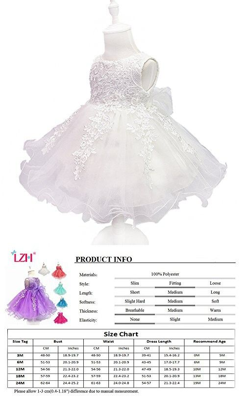 13c840d6c3a LZH Baby Girls Birthday Christening Dress Baptism Wedding Party Flower Dress  with Bowknot for Newborn Infant