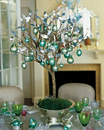 Use a branch as tree for ornaments