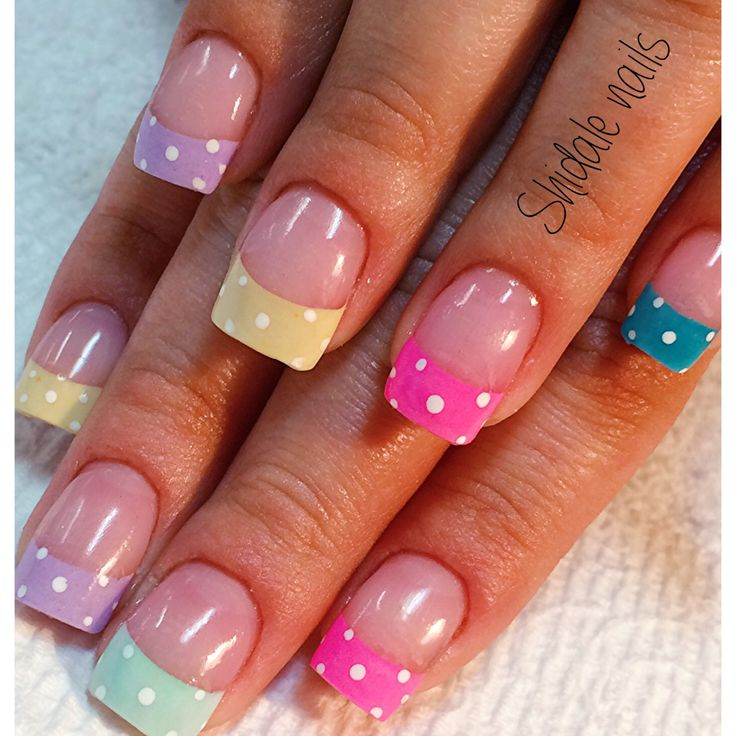 Fun Easter nails! Perfect for spring! Acrylic colored nails.