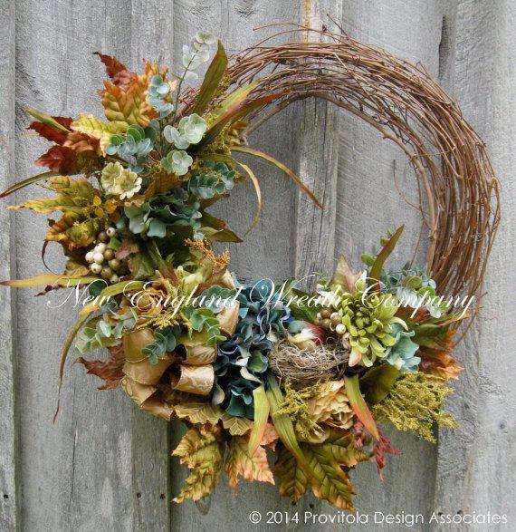 Fall Wreath, Autumn Wreaths,Thanksgiving, Harvest, Designer Wreath, Elegant Fall Floral, Floral Wreath    Elegant Autumn Garden Wreath. Lush