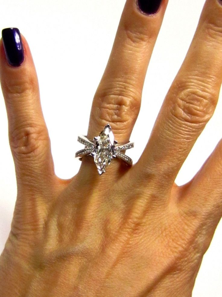 Marquise Engagement Rings On Hand 3 01ct Estate Marquise