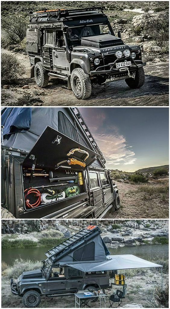 Land Rover Defender Icarus - The Land Rover Defender Icarus is a death-proof custom camper conversion created by South African adventure customizer Alu-Cab. The Icarus features a built-in rooftop tent that opens from the inside, a fold-away stove & lots of side storage, plus ultra-bright Lumeno lights inside & out.