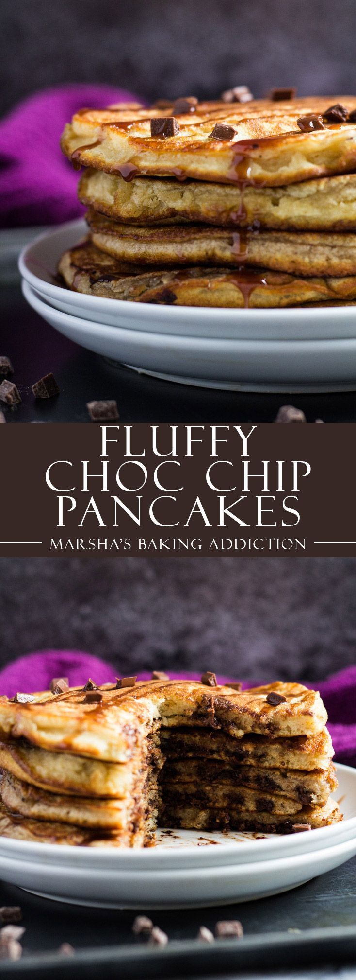 Fluffy Chocolate Chip Pancakes | http://marshasbakingaddiction.com /marshasbakeblog/