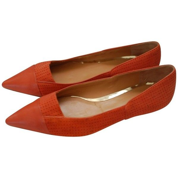 Orange flat shoes, Pointed flats shoes