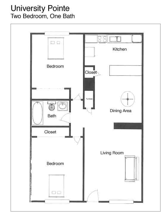 Tiny house single floor plans 2 bedrooms select - Architectural plan of two bedroom flat with dining room ...