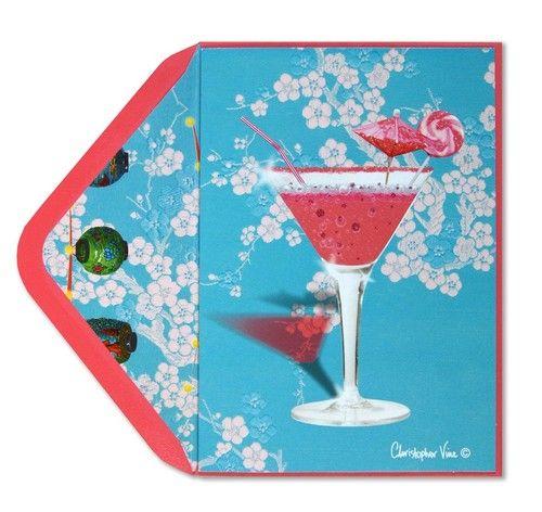 Papyrus Christopher Vine Pink Cocktail Celebration Amazing Birthday Card | eBay