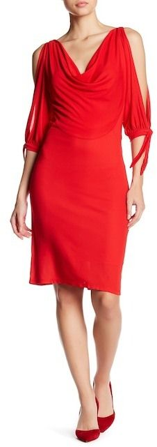 Eva Franco Picolo 3/4 Sleeve Slit Shoulder Dress