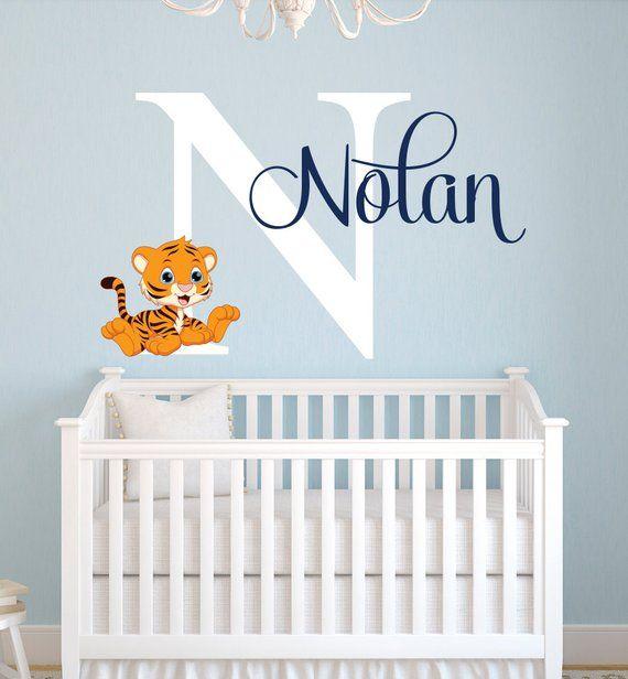 907d19e2f5e54 Name Wall Decal - Tiger Wall Decal - Tiger Baby Boy Room Decor ...