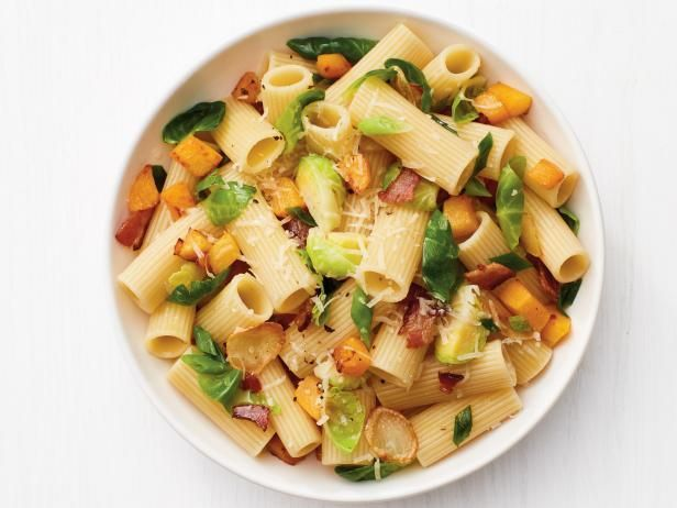 Get Rigatoni with Butternut Squash, Brussels Sprouts and Bacon Recipe from Food Network