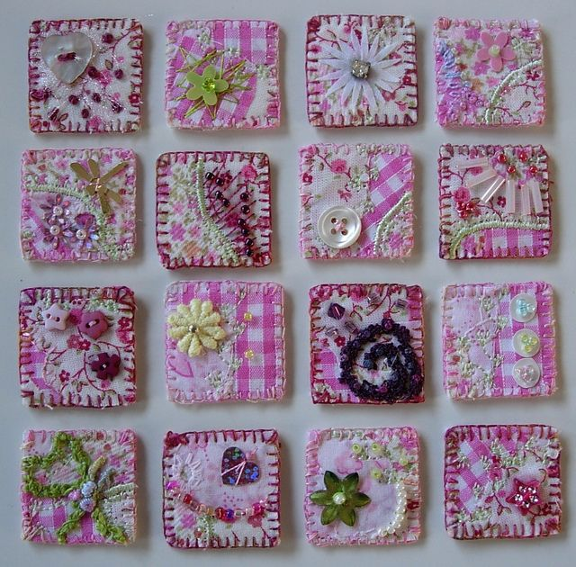 pink gingham fabric inchies