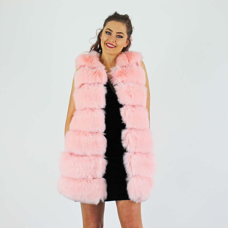 PinkCad Baby Pink Faux Fur Long Gilet With Pu Trim And Side Pockets