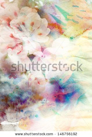 Abstract ink painting combined with flowers on paper texture
