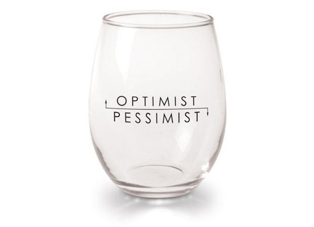 Optimist Pessimist Wine Glass