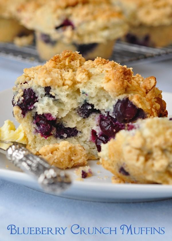 Blueberry Crunch Muffins - these are a weekend wake-up call for the whole household. You'll have everyone rethinking their weekend lie-in when they get the scent of these baking. Served warm with melting butter and a steaming cup of coffee, what better way to kick off a weekend morning?