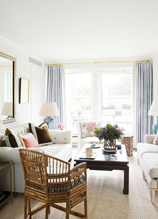 beautifulDecor, Living Rooms, Bamboo Chairs, Curtains Rods, Colors, Livingroom, Living Room Layout, Design, Ashley Whittaker