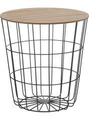 Beistelltisch Tisch mit Stauraum Ø 39 cm H=41 cm Metall/Holz Nachttisch Schwarz
