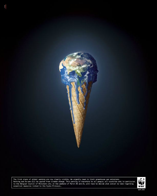 The earth  is melting by VVL BBDO for #WWF.  #savetheplanet #globalwarming #icecream