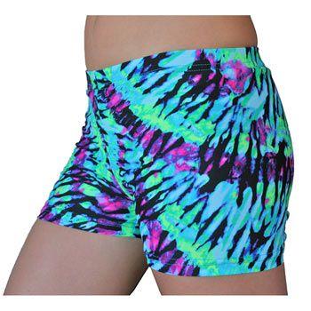 GemGear® Neon TieDye Volleyball Spandex Shorts