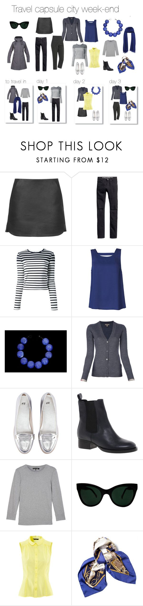 """""""Travel capsule city week-end"""" by fargeporten ❤ liked on Polyvore featuring Topshop, H&M, T By Alexander Wang, ONLY, Burberry, ASOS, rag & bone, KamaliKulture and Hermès"""