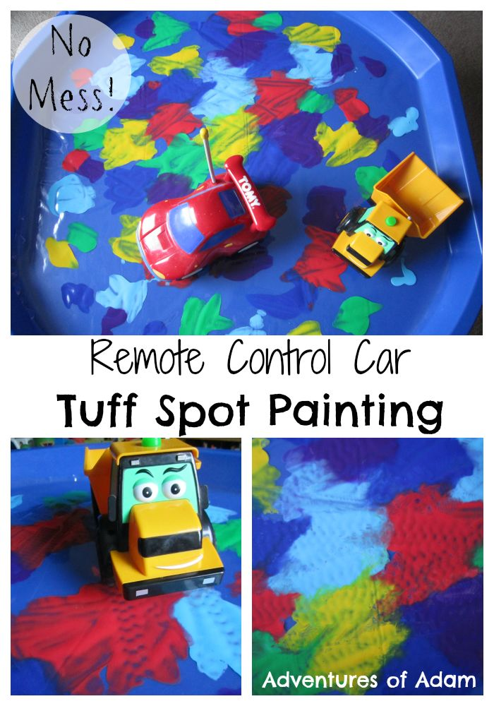 R is for Remote Control Car Painting Tuff Spot   No mess painting | http://adventuresofadam.co.uk/remote-control-car-painting-tuff-spot/