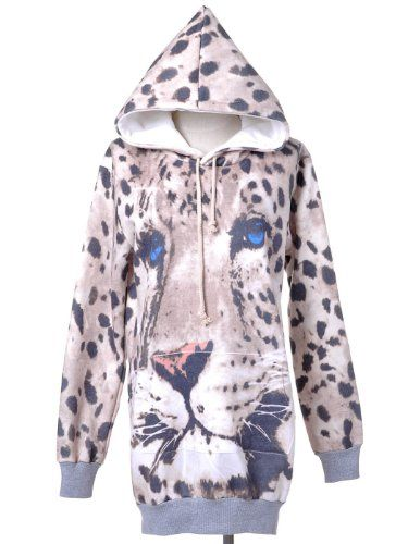eb4fc6ae2260 AnnaKaci Womens Multicolor Snow Leopard Animal Print Long Sleeve Tunic  Hoodie * Details can be found by clicking on the image. (This is an  affiliate link)