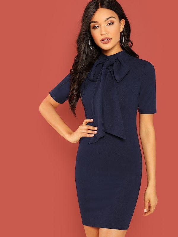 acd77afd87ec Bow Tie Neck Striped Pencil Dress -SheIn(Sheinside) | Closet wishes ...
