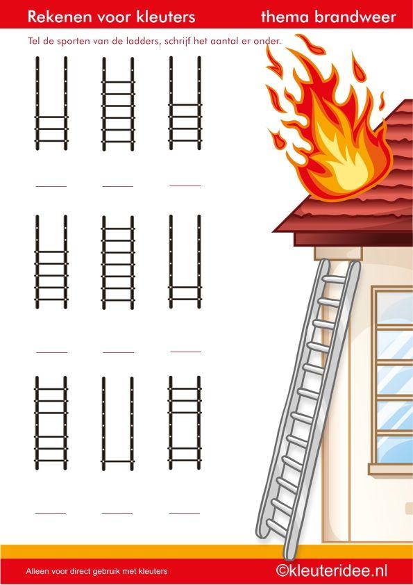 Rekenen met kleuters,tel de sporten van de ladder, thema brandweer, juf Petra van kleuteridee.