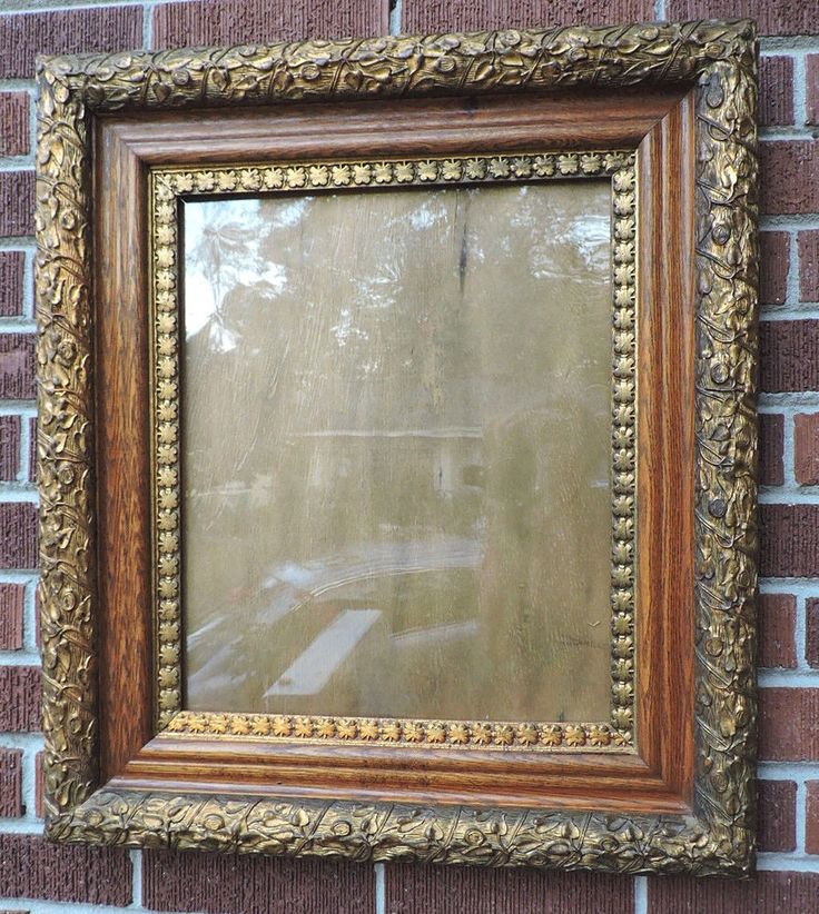 victorian aesthetic movement gold leaves compo golden oak frame 14 x 17 c1880