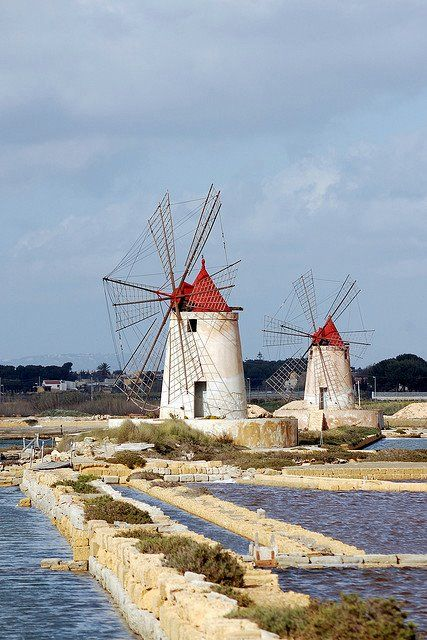 Old windmills used to pump out water from salt pans,  Mozia (Mozzia, Mothya), Sicily