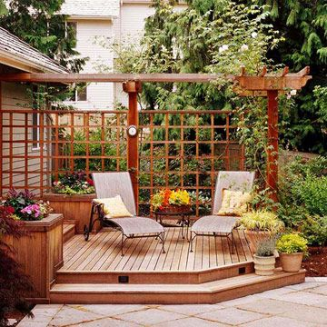 """Use partial pergola """"walls"""" rather than full pergola for front patio to define outdoor room without sacrificing sunlight into the house."""