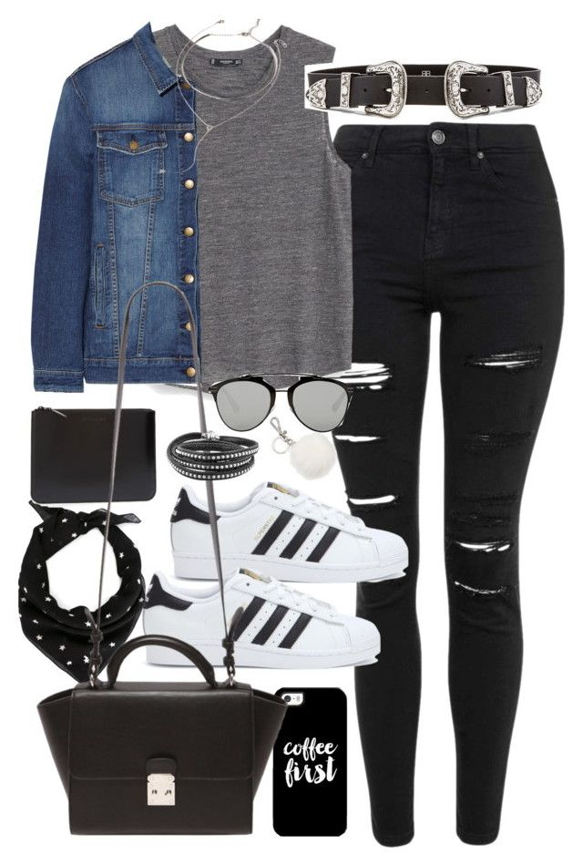 Blusa gris aero, pantalon negro, tenis blancos, chamarra de mezclilla