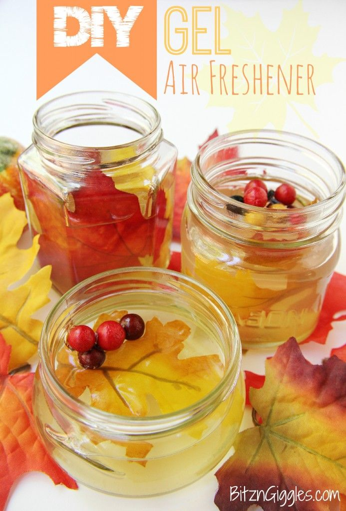 DIY Gel Air Freshener - With only a few ingredients you can make your own gel air fresheners! Decorate with some silk flowers or leaves and they are pretty enough to even give as gifts!